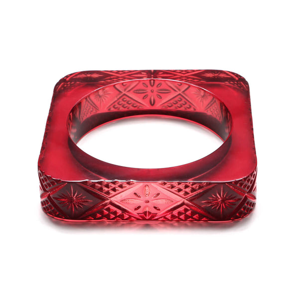 Copy of LAST ONE AVAILABLE!   Etched Square Bangle in Burgundy