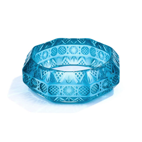 Etched Octagon Bangle Aqua