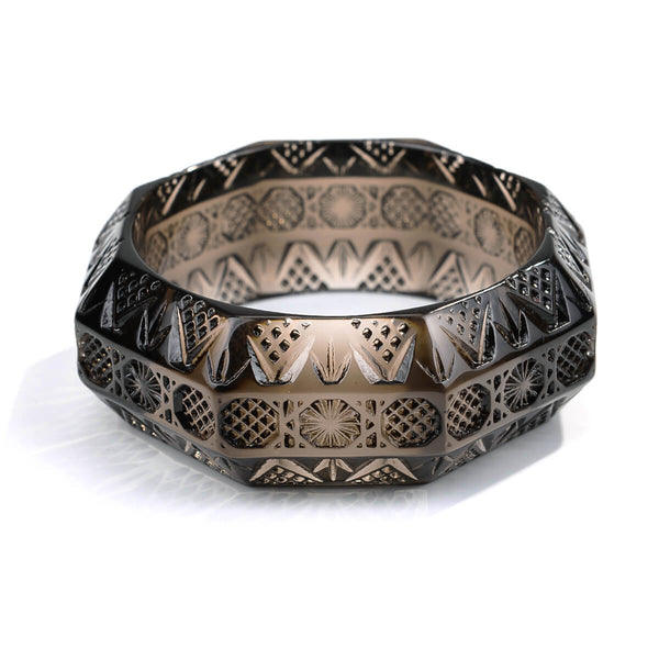 Etched Octagon Bangle Dark Grey