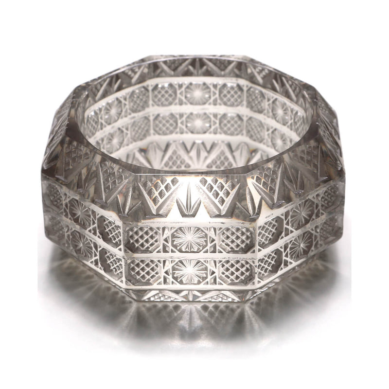 Wide Etched Octagon Bangle Light Grey