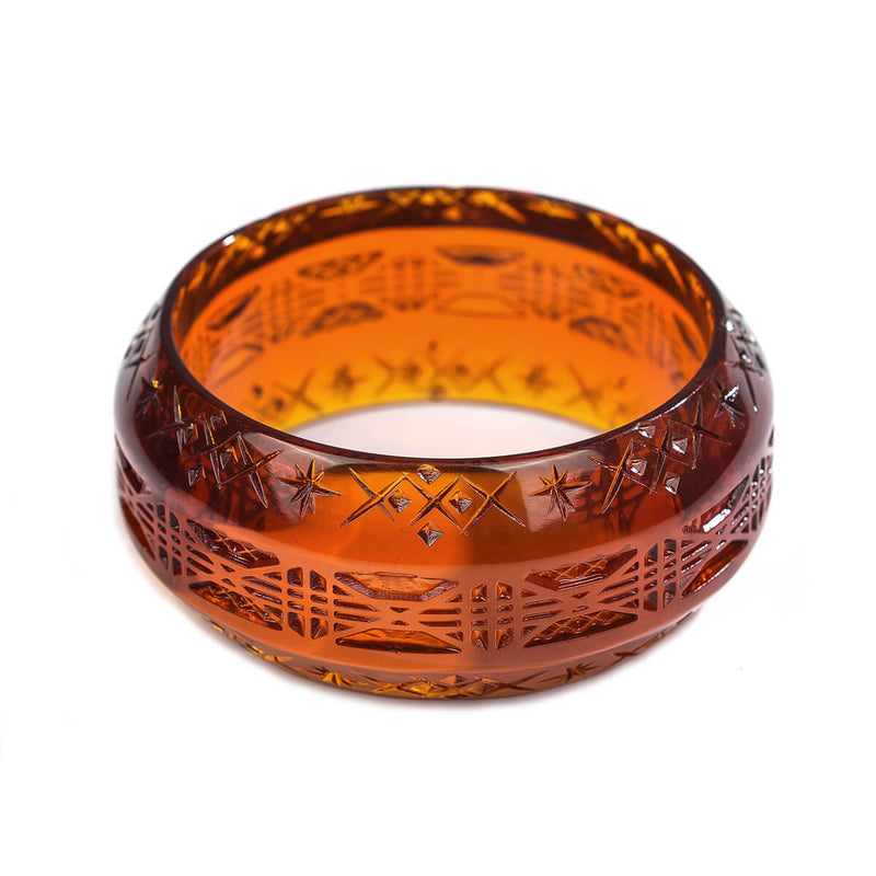 Wide Edged Bangle Amber