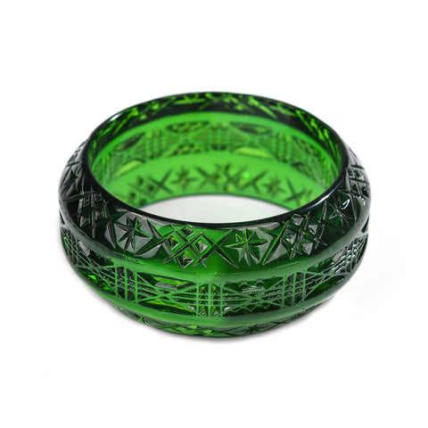 NEW IN Wide Edged Bangle Emerald Green