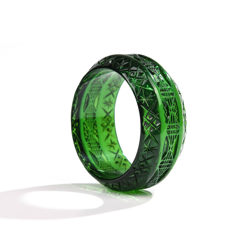 Wide Edged Bangle Emerald Green