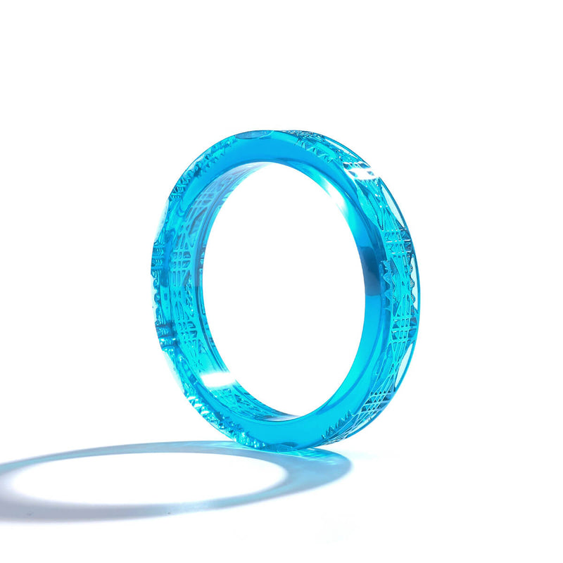 Cut Glass Bangle Aqua