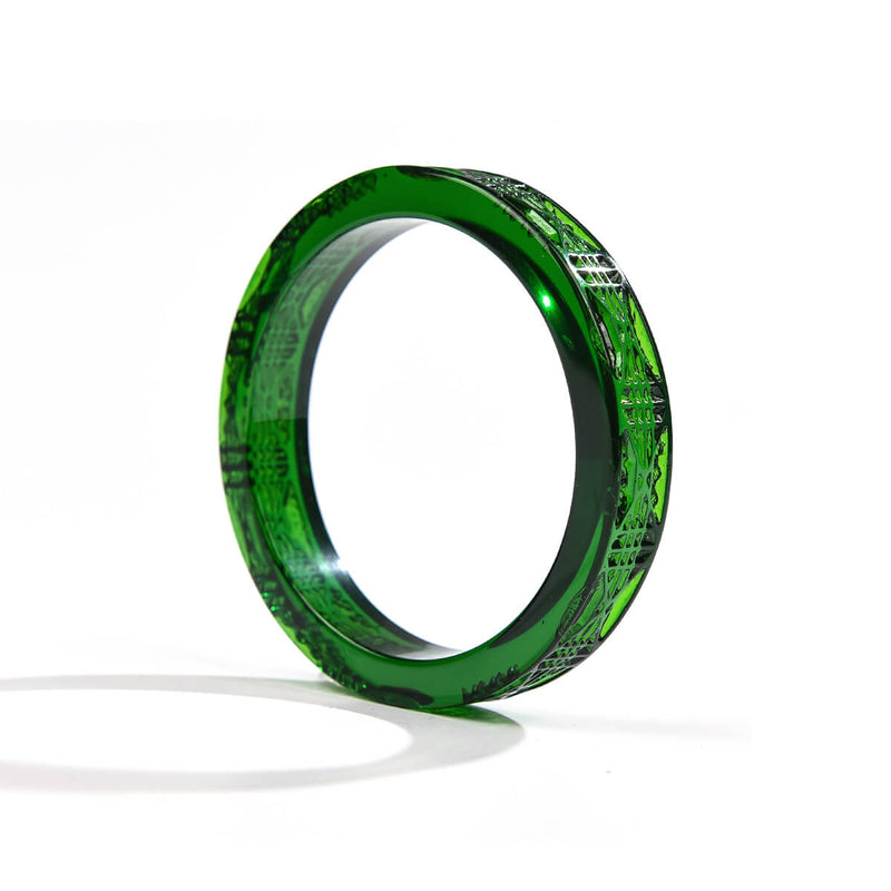 Cut Glass Bangle Emerald Green