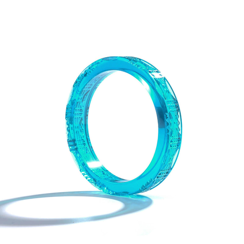 Cut Glass Bangle Turquoise