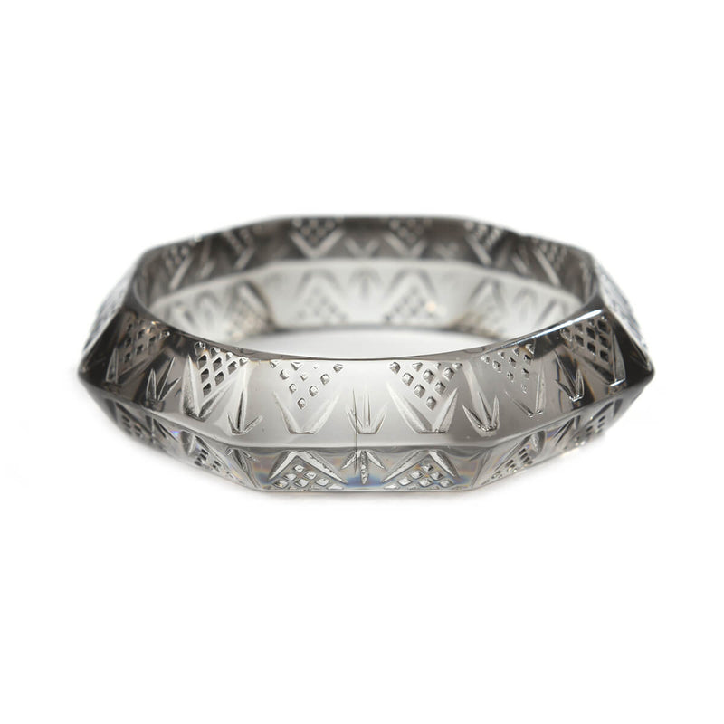 Octagon Edged Bangle Light Grey