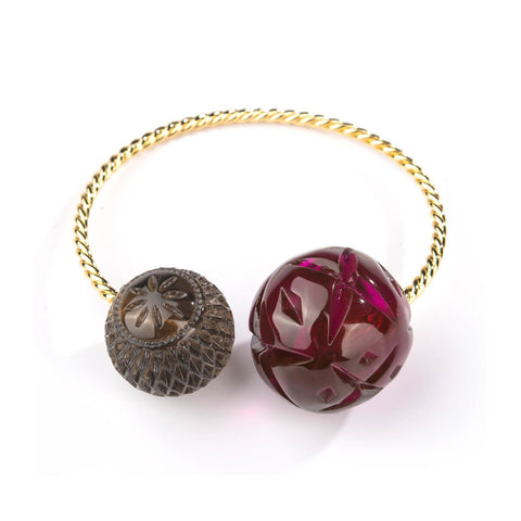 BACK IN STOCK Dual Ball Cuff Deep Purple & Grey