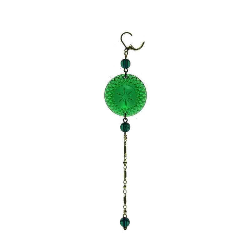 BACK IN STOCK Long String Disc Earrings Emerald Green