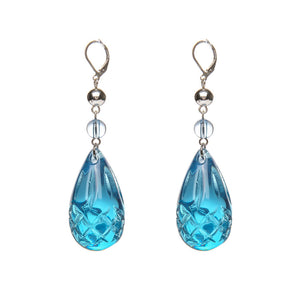 Etched Teardrop Earrings Aqua