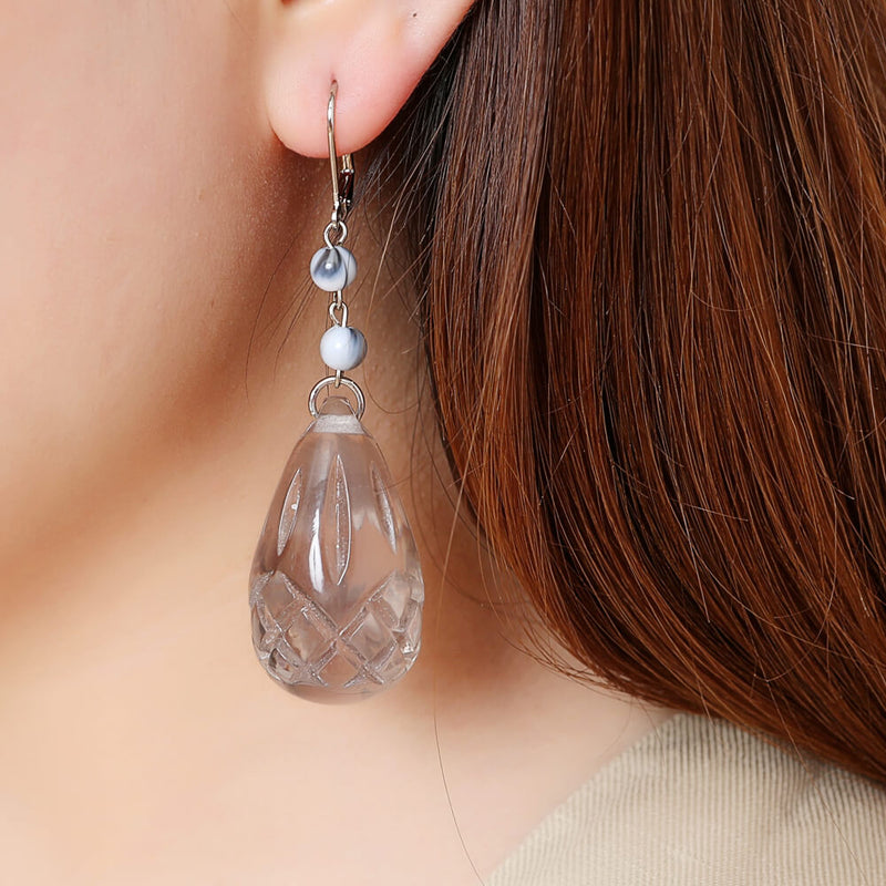 Etched Teardrop Earrings Light Grey