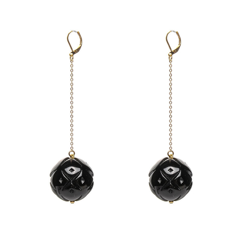 Long Drop Sphere Earrings Black