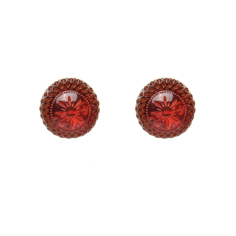 Frosted Ball Studs Amber