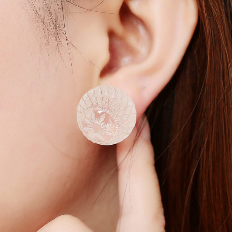 douglaspoon hand carved resin earrings in vintage clear