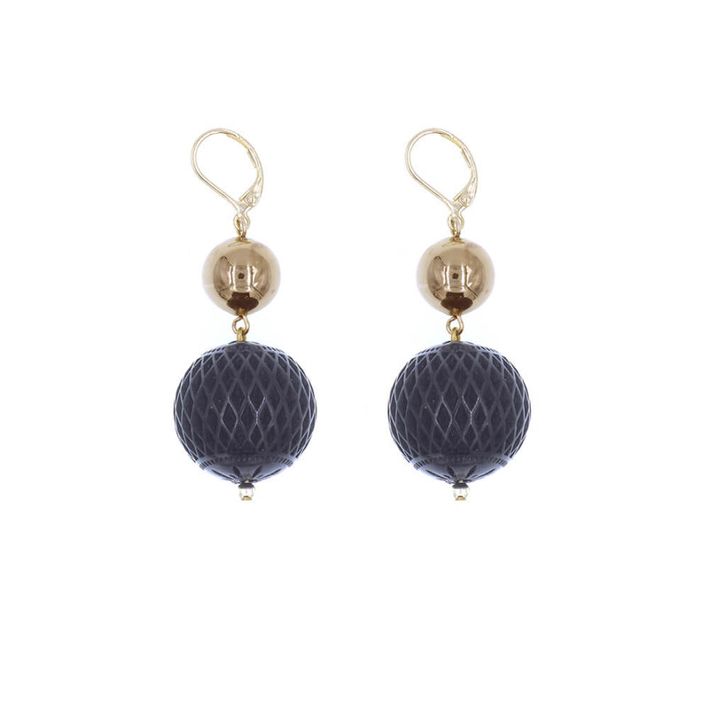 Frosted Ball Earrings Black