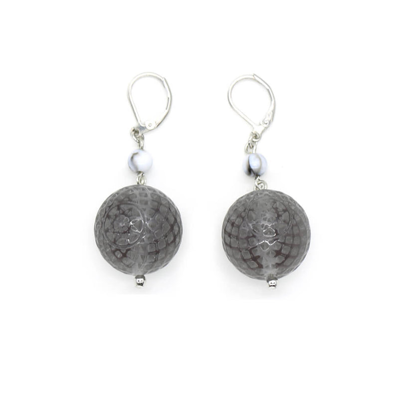 Frosted Ball Earrings Light Grey