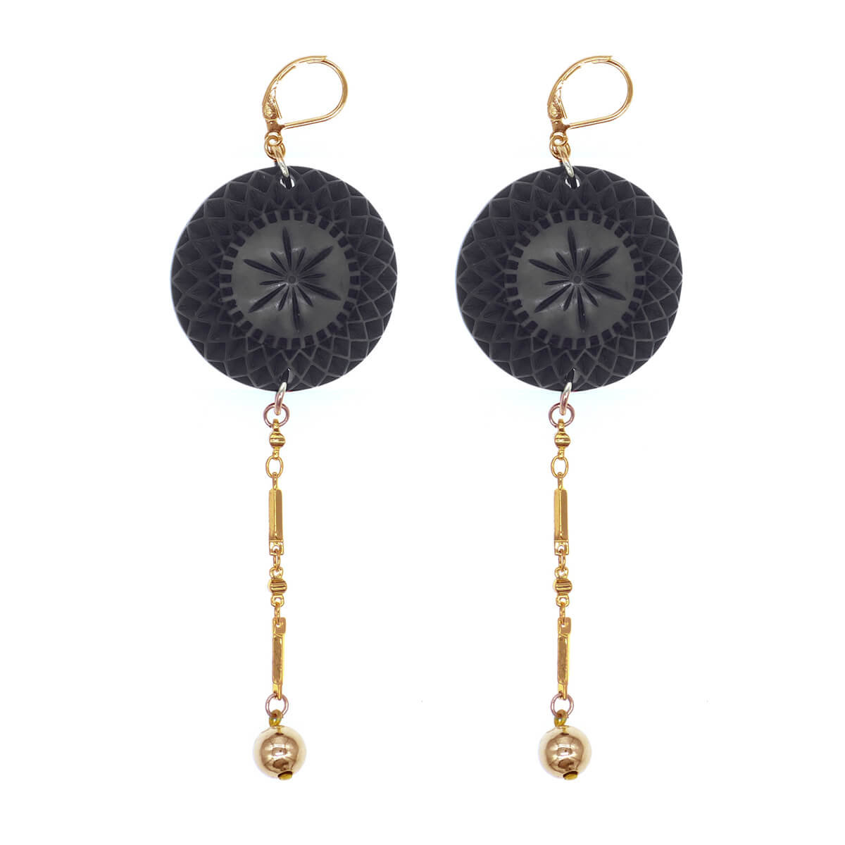 Etched Disc String Earrings Black