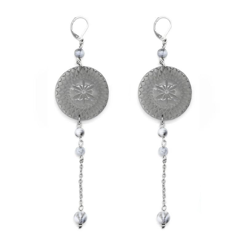 Etched Disc String Earrings Light Grey