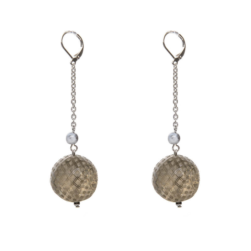 Frosted Ball Drop Earrings Light Grey