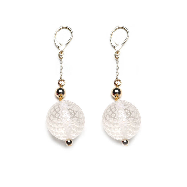 Frosted Ball Drop Earrings Vintage Clear