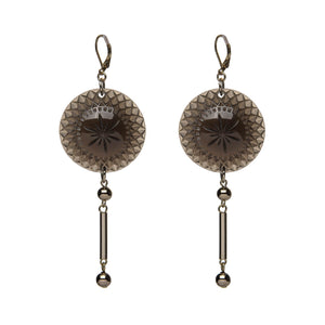Etched Disc Bar Earrings Dark Grey