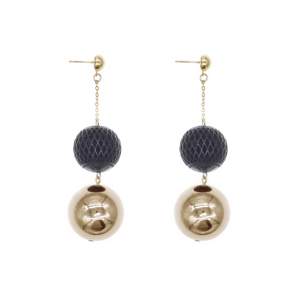 LAST ONE AVAILABLE!  Gold & Black Ball Drop Earrings