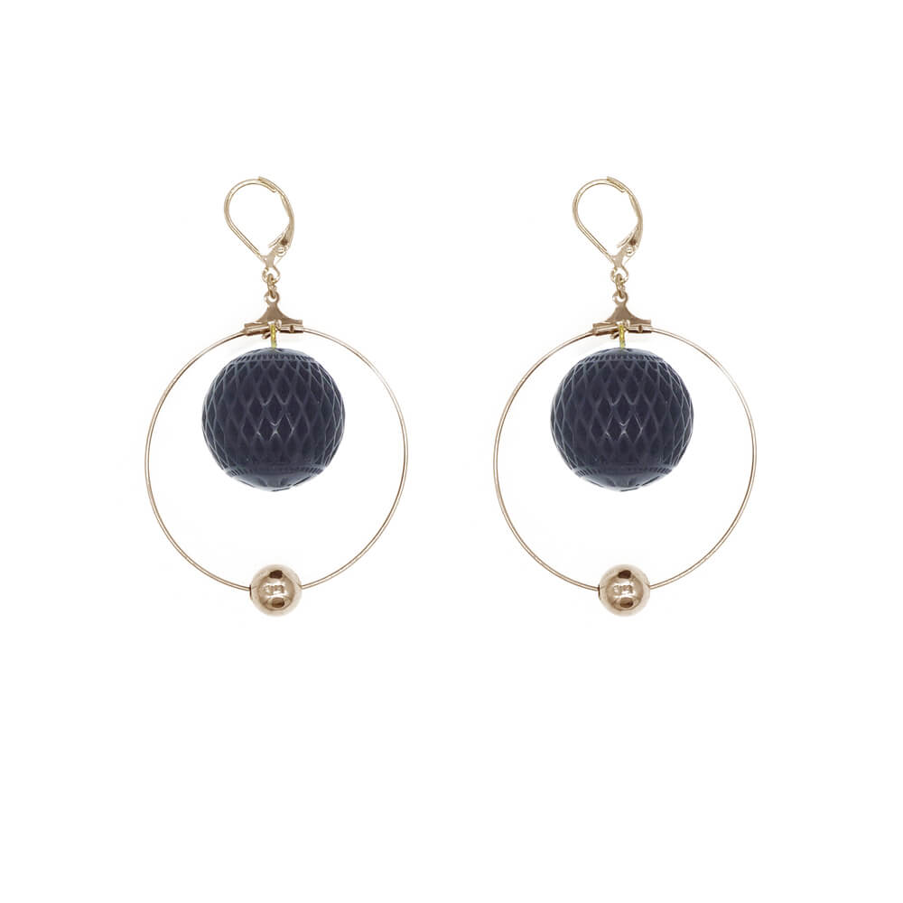 SAMPLE SALE Frosted Ball Hoop Earrings Black