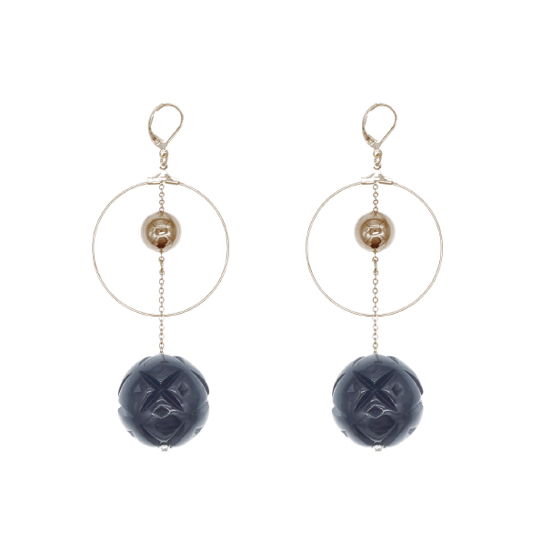 SAMPLE SALE Etched Ball Drop Hoop Earrings Black