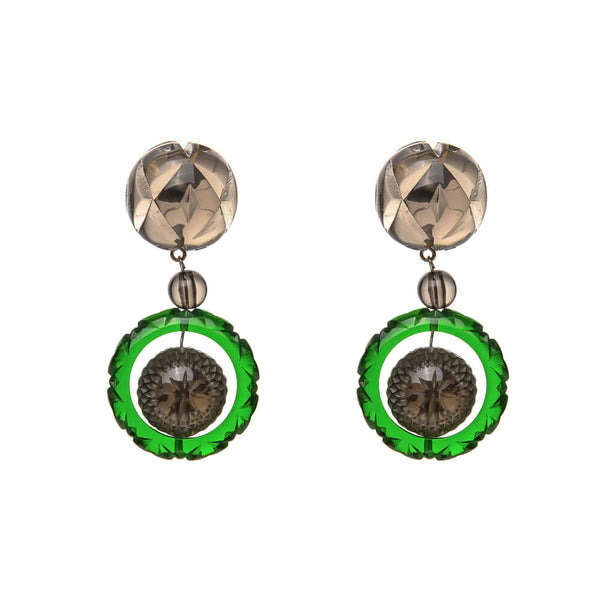 Frosted Ball & Circle Stud Earrings Green & Grey