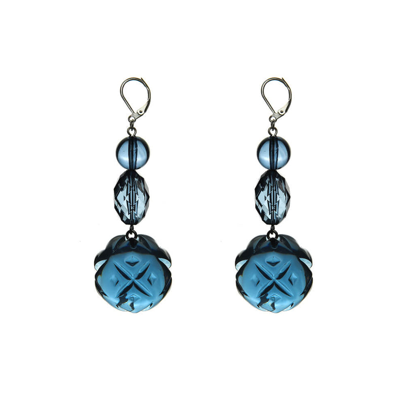 NEW IN Etched Ball Beaded Earrings Classic Blue