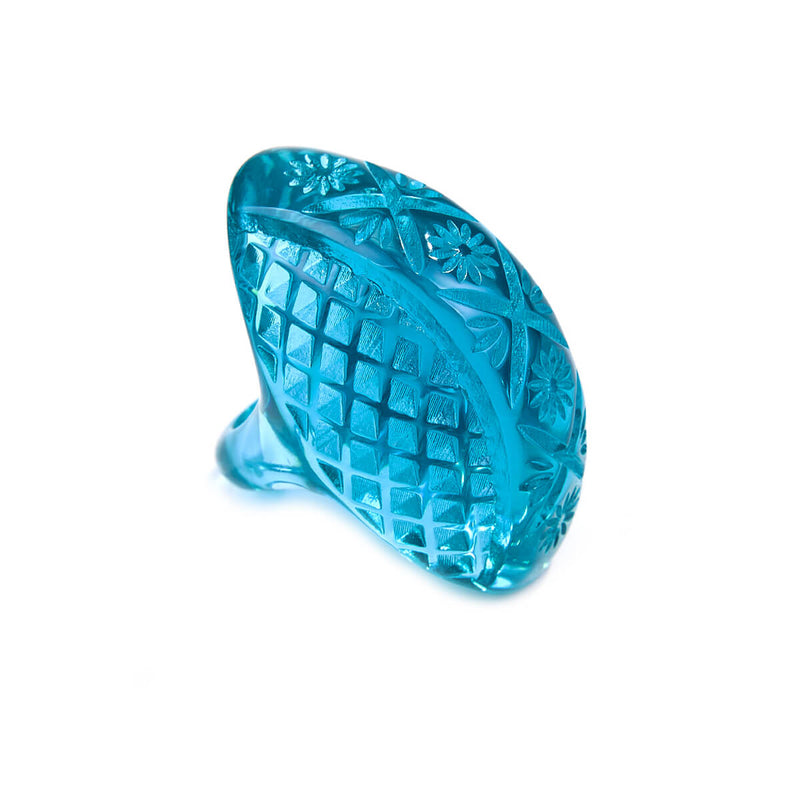 Etched Oval Ring Aqua