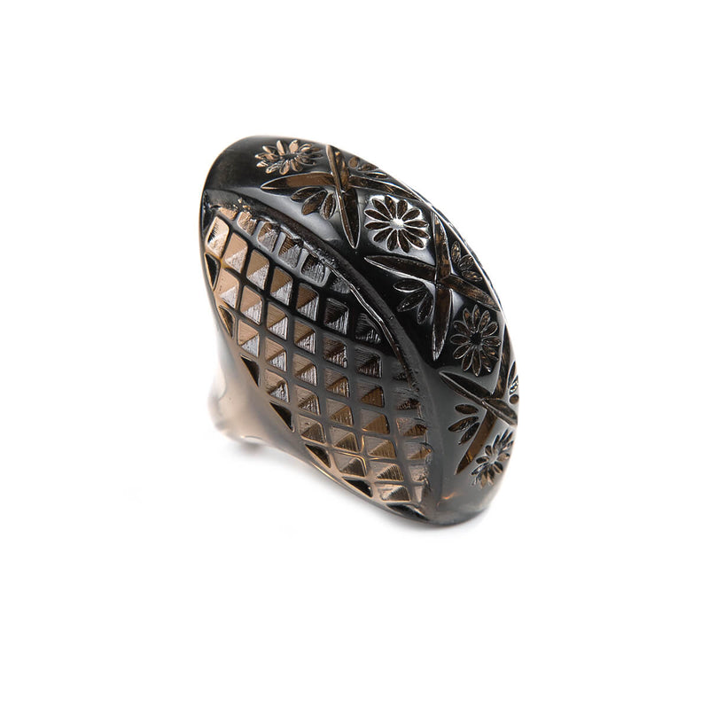 Etched Oval Ring Dark Grey