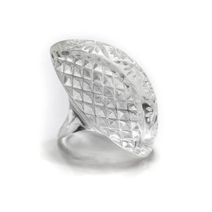 Etched Oval Ring Vintage Clear