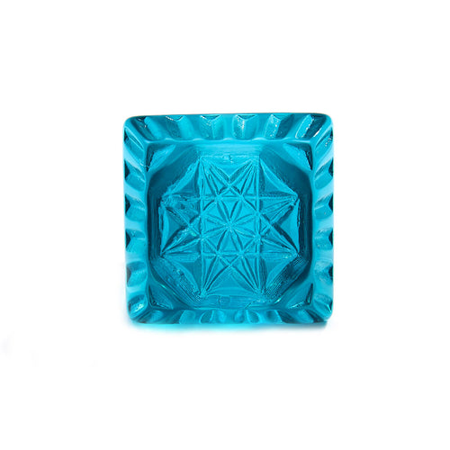 Etched Square Ring Aqua