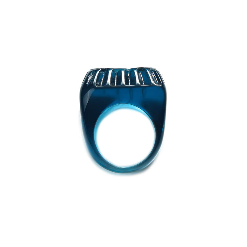 NEW IN Etched Square Ring Classic Blue