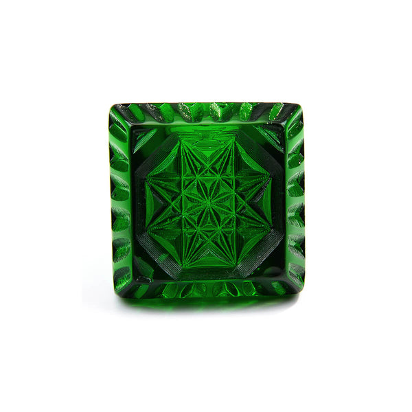 Etched Square Ring Emerald Green