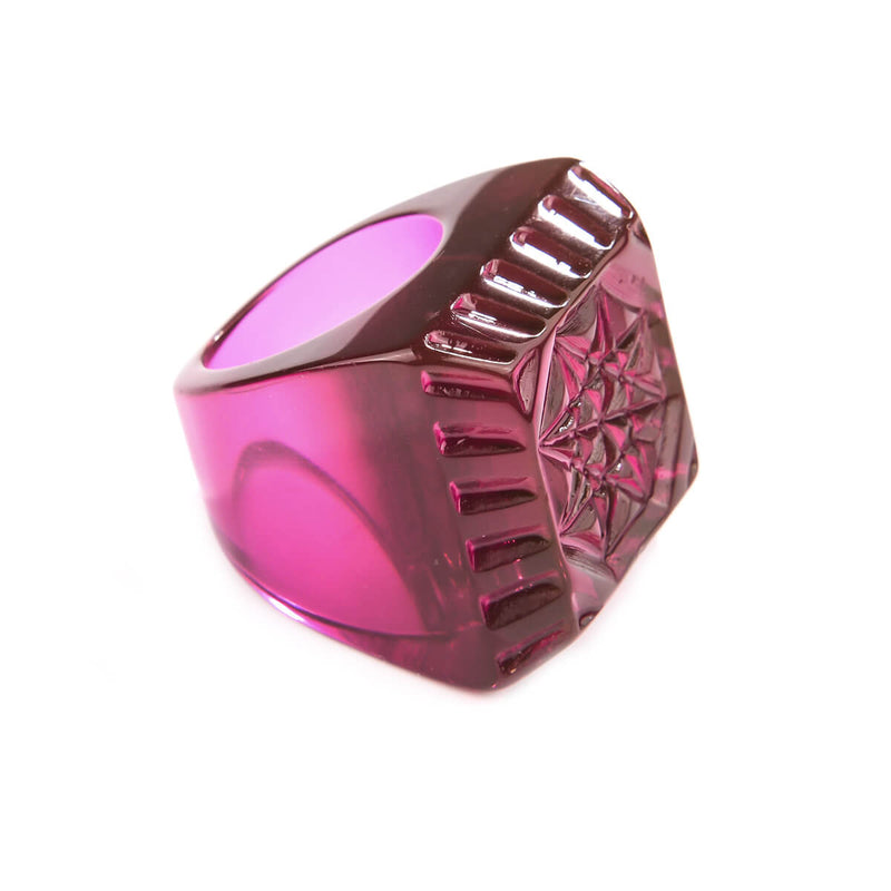 Etched Square Ring Deep Purple