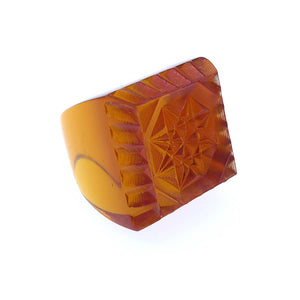 Etched Square Ring Amber