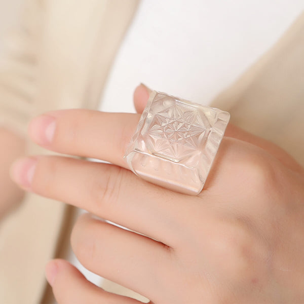 Etched Square Ring Vintage Clear