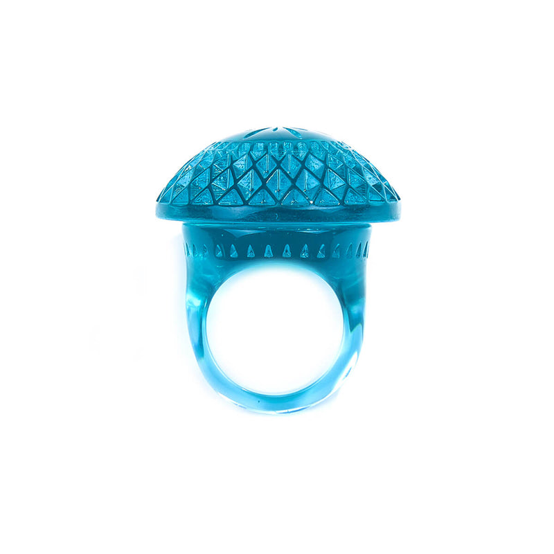 Etched Circle Ring Aqua