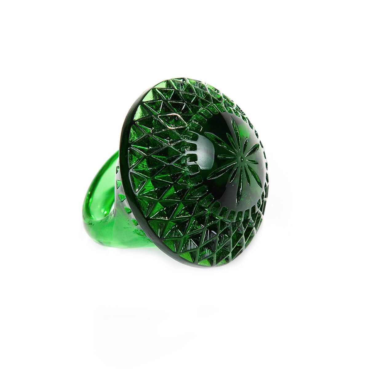 Etched Circle Ring Emerald Green