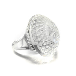 Etched Circle Ring Vintage Clear