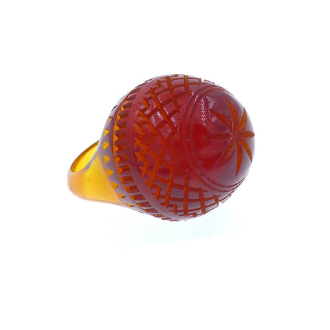 Etched Dome Ring Amber