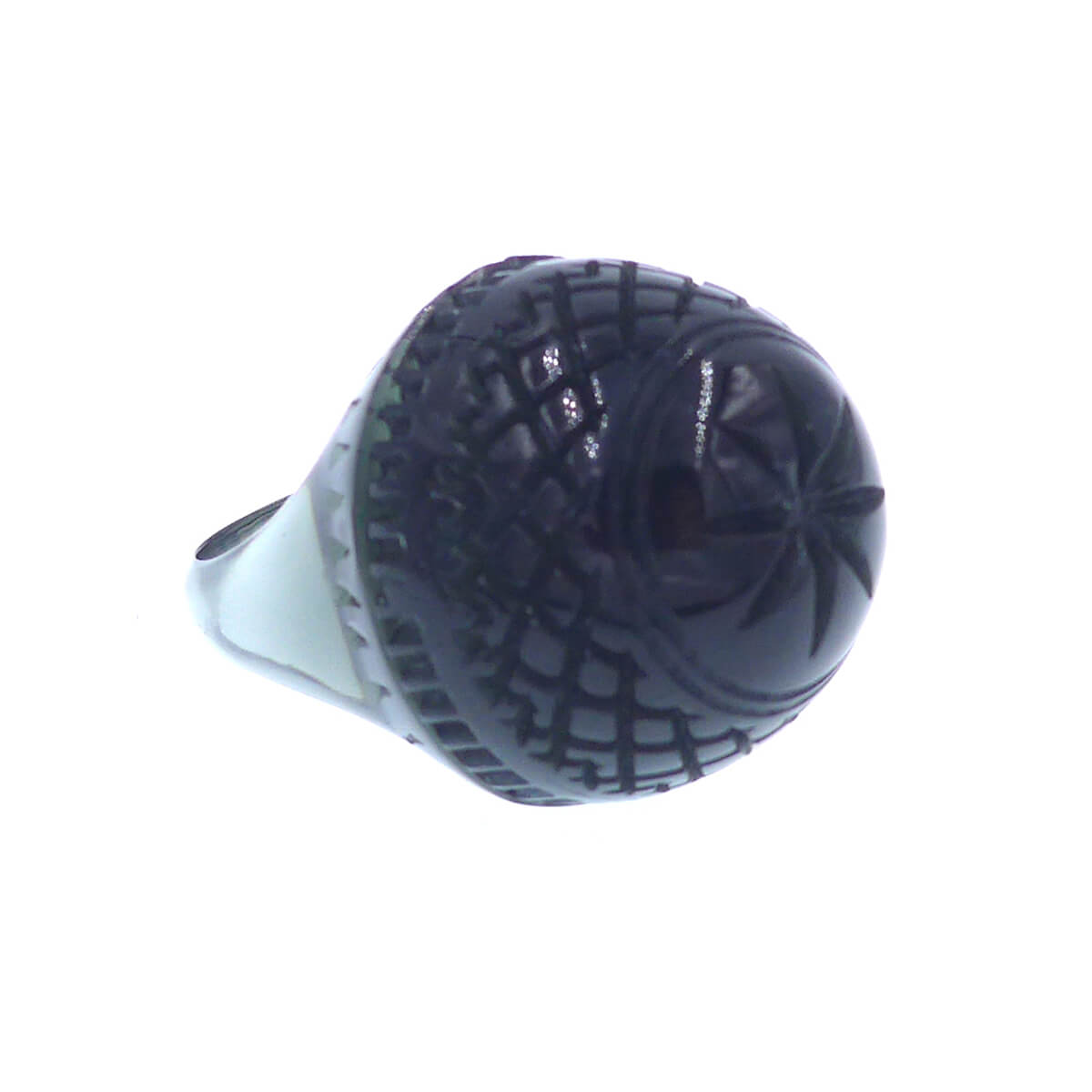Etched Dome Ring Black