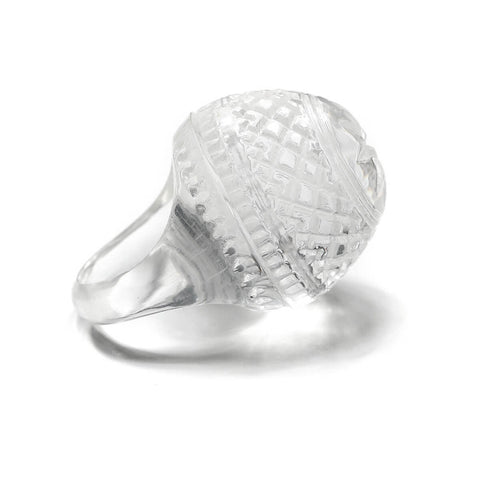 Etched Dome Ring Vintage Clear
