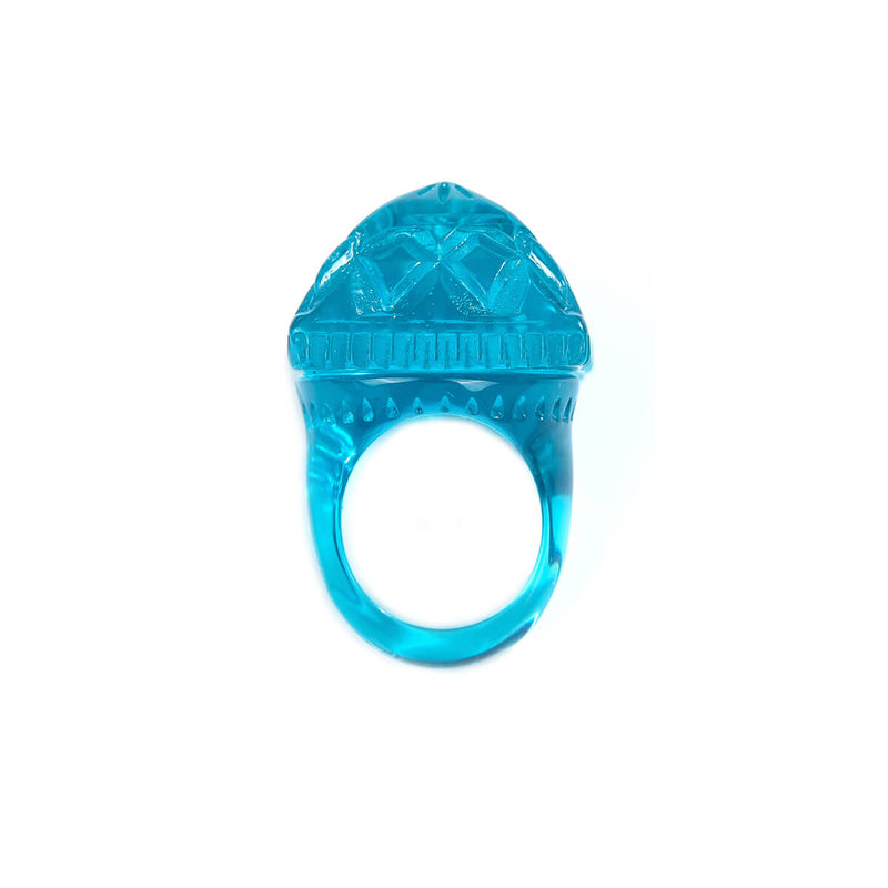 Carved Square Ring Aqua