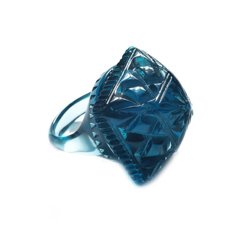 NEW IN Carved Square Ring Classic Blue