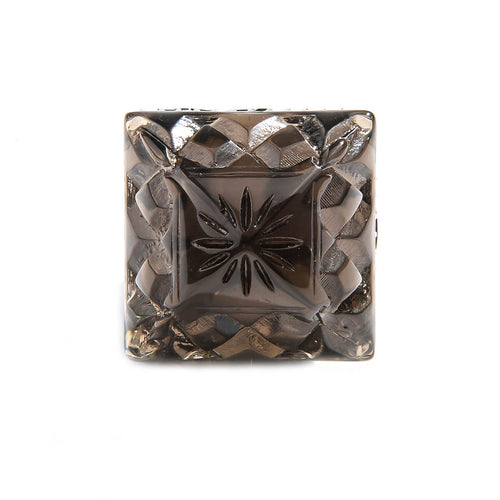 Carved Square Ring Dark Grey
