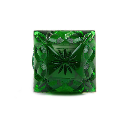 Carved Square Ring Emerald Green