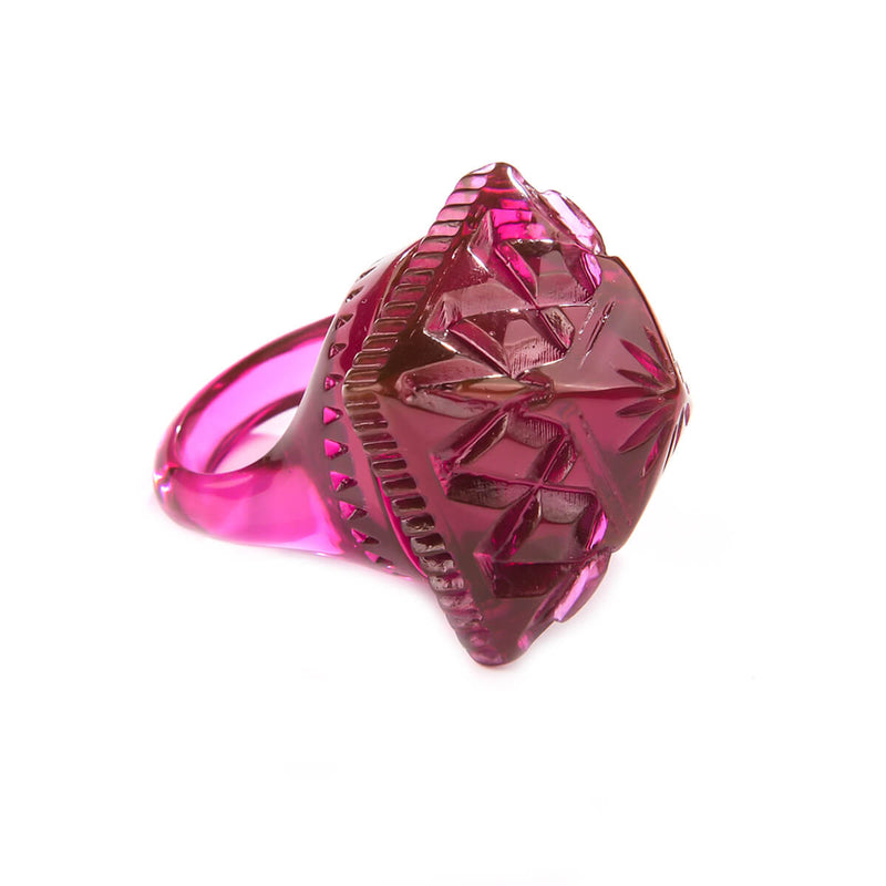 Carved Square Ring Deep Purple